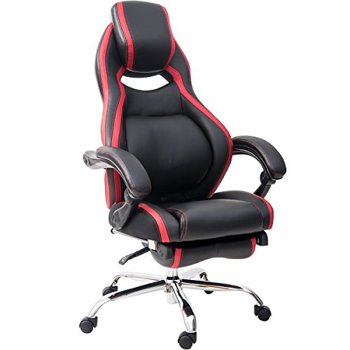 Merax PP036982 Racing Style High Back Gaming Chair with Adjustable Pivoting Lumbar and Padded Footrest