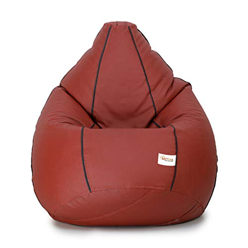 SATTVA Classy.Elegant.Stylish Classic 3XL Bean Bag Filled with Beans (Colour -Tan with Black Piping)
