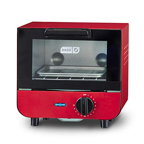 Dash DMTO100GBRD04 Mini Toaster Oven Cooker for for Bread, Bagels, Cookies, Pizza, Paninis & More with Baking Tray, Rack, Auto Shut Off Feature, Red (Renewed)