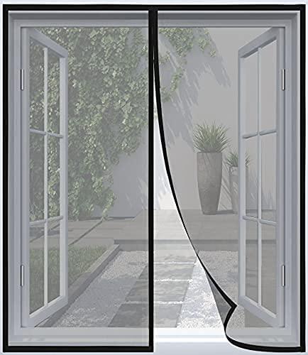 ARCOL Magnet Fliegengitter Fenster Insektenschutz – Feines undurchdringliches Gitter, 130x150 cm, 2 Klettverschlussrollen inklusive, vollmagnetisch, schließt automatisch (Schwarz)