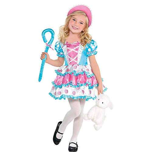 amscan Girls Little Bo Peep Costume, Small (4-6)- 3 pcs, Multicolor