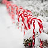 GIGALUMI Christmas Candy Cane Lights, 10 Pack Candy Cane Pathway Markers Outdoor 28' with 8 Lighting Modes, Waterproof UL Listed Outdoor Christmas Decorations,10LED