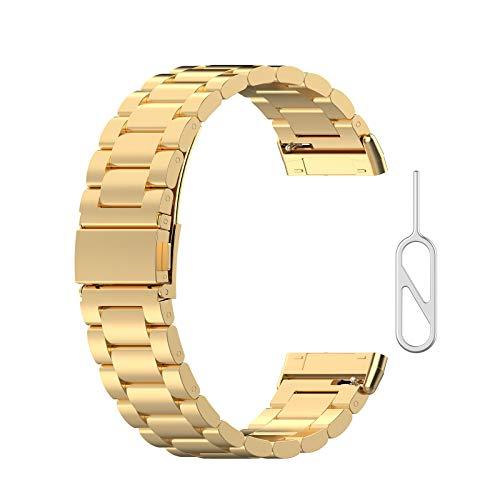 Meipai - Correa de repuesto universal de acero inoxidable para reloj Fitbit Versa 3 / Sense Smartwatch pulsera para hombres y mujeres