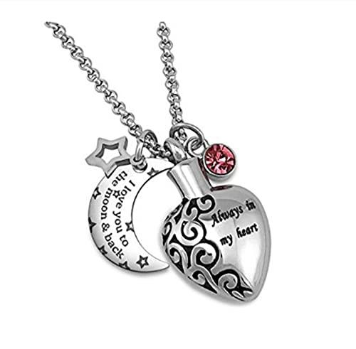 Lddpl Collares de urna de recuerdo de cenizas para las cenizas para siempre en mi mente para siempre en mi corazón I Love You To The Moon 12 piedras estilo collar