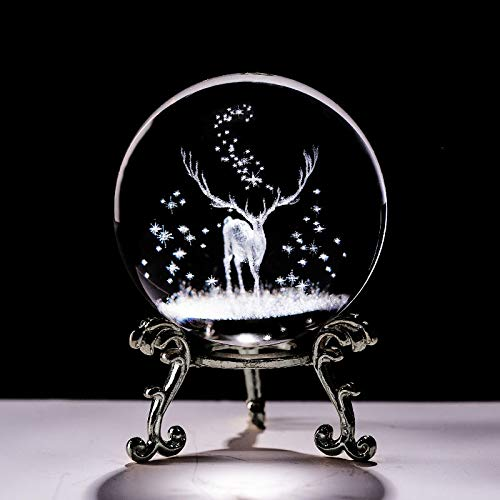 NYKK Bola Crystal 3D Bola Láser Grabado Wapiti Miniatura Vidrio Ciervo Esfera Papel Papel Papel Onnamillo Decorativo Adorno Cumpleaños Dora Regalos Creativa (Color : with Silver Base, Size : 60mm)
