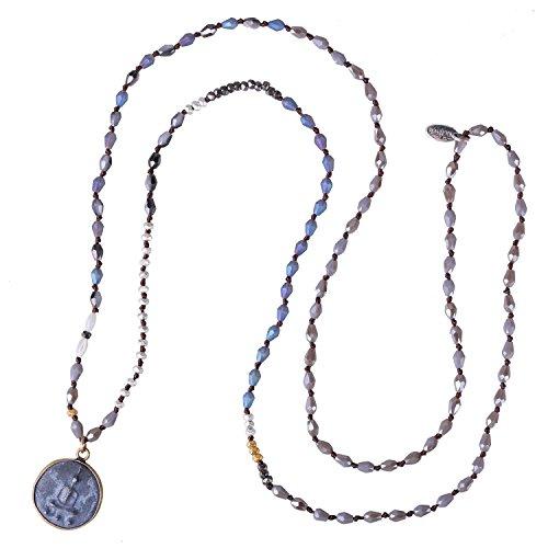 KELITCH Handgefertigt Verknotet Kristall Wulstig Sitzung Buddha Anhänger Halskette - EIN