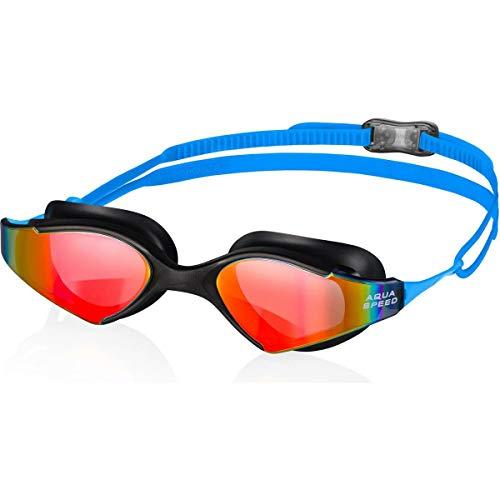 Aqua-Speed Blade Mirror Monoblock Schwimmbrille für Herren Einheitsgröße schwarz/blau