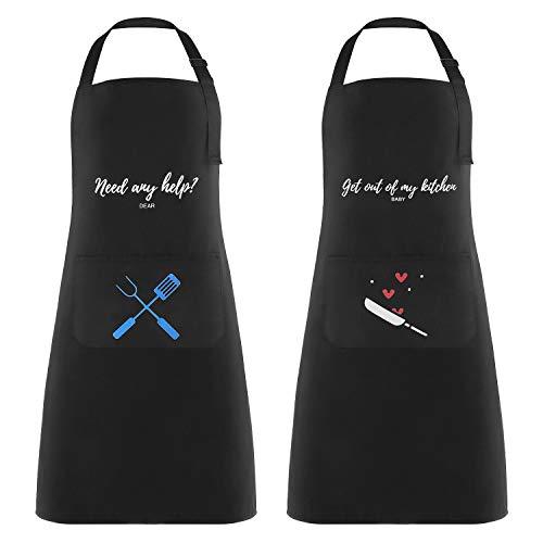 Lemecima 2 Stück Schürze Kochschürze Wasserdicht Küchenschürze Grillschürze Latzschürze mit Verstellbarem Nackenband Große Tasche für Männer Damen Belastbar & Einfach zu Reinigen 71 x 80 cm (Schwarz)
