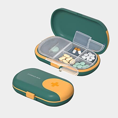 1 Pastillero con Cortador de Pastillas, Caja de Pastillas con 4 Compartimentos – Tomas, Organizador Medicación de Plástico ABS Portátil de tamaño Bolsillo - Verde ⭐