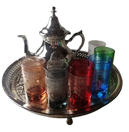 Orientalisches Teeservice Fatima mit bunten Gläsern   marokkanische Teegläser im Set   orientalische Teegläser mit Verzierungen