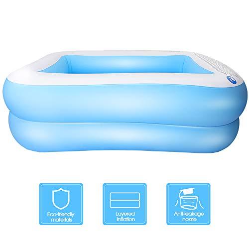 KKTECT Piscina Inflable, Segundo Anillo PVC Resistente Piscina Portátil Rectangular Familiar, para niños, Adultos al Aire Libre Juego de jardín Interior Azul (XL)