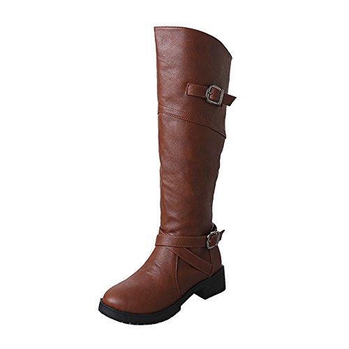 Stiefel Damen, LANSKIRT PU-Leder Ritter Schnalle Damen Faux Stiefel Stiefeletten Halbschaft Stiefel Plateau Blockabsatz Knöchelhohe Stiefel Boot Sandalen Sneakers Schuhe