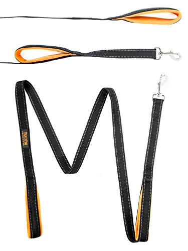 Mighty Paw HandleX2, Dual Handle Dog Leash - 6 Feet, Premium Quality Reflective Leash with 2 Handles. (Black/Orange)