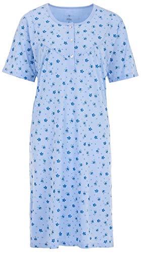 Zeitlos Nachthemd Damen Kurzarm Schlafshirt Knöpfe, Farbe:blau, Größe:M