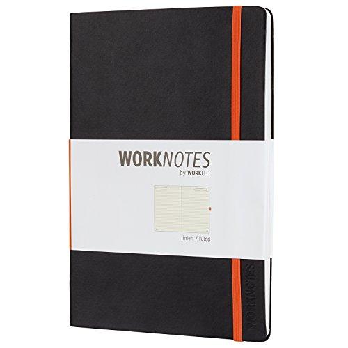 Worknotes Notizbuch b5 liniert - iPad Größe - Das Notizbuch für Kreative und Macher von Workflo, 128 perforierte Seiten, Softcover, schwarz