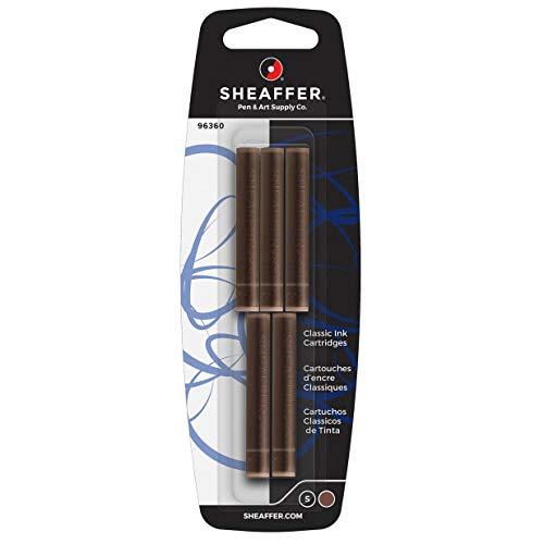 Sheaffer - Cartucce d'inchiostro Skrip Classic (per penna stilografica Sheaffer, non cancellabile), 5 pezzi, colore: Marrone
