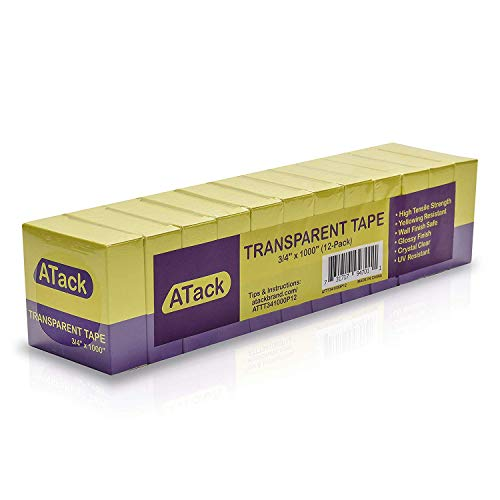ATack Crystal Clear Transparent Tape 3/4-Inch by 1000-Inch (12-Pack), Yellowing Resistant Clear Packaging Tape Refill Rolls