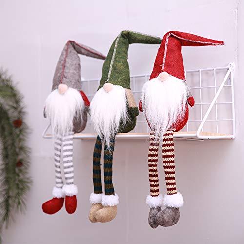 Leipple Decoración navideña de gnomo de felpa 3 paquetes, adornos hechos a mano de Tomte Santa Elf sueco, decoración navideña de gnomo para el hogar, restaurante y oficina