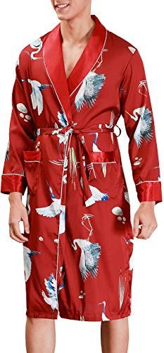 Chaos World Herren Satin Morgenmantel Japanischer Kimono Bademäntel (Crane Wein,XX-Large)
