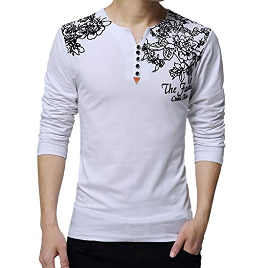 Sunmoot Plus Size Printed T Shirt for Men Long Sleeve Button Spring Casual Cotton Tops Blouse