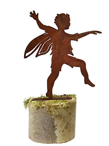 California Home and Garden CS15 Metal Rustic Rust Boy Fairy Silhouette, 6 Inch Tall, Brownish Red