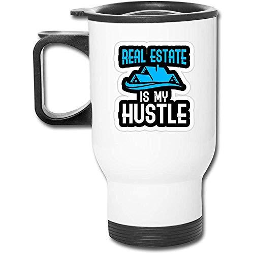 Real Estate Is My Hustle Edelstahl-Isolierreisebecher mit Deckelladeschalen Isolierkaffeetasse