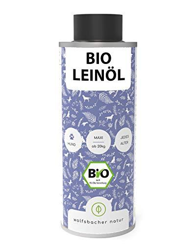 Bio Leinöl für Tiere 1 Liter, Kaltgepresst aus dem Allgäu, Natürliche Haut- und Fellpflege für Hunde, Katzen und Pferde, Aus kontrolliert biologischem Anbau, DE-ÖKO-60