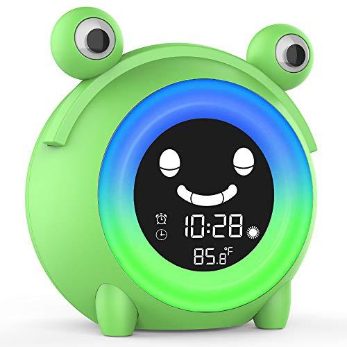 Alarm Clock for Kids , Kids Alarm Clock with Night Light ,Nap Timer,Sleep Sound Machine ,Temperature Detection,Children's Sleep Trainer for Toddlers,Digital Wake Up Light for Boys Girls Bedroom