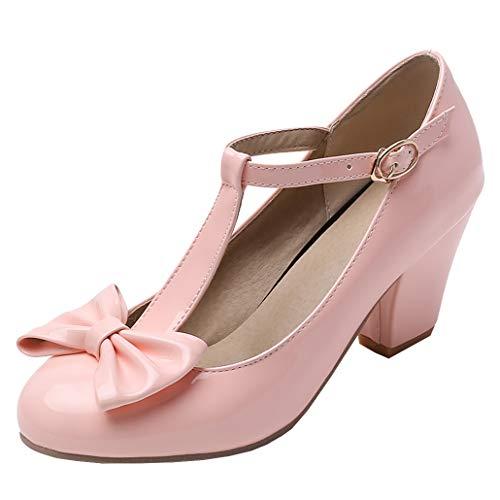 T-spangen Pumps Lack High Heels mit Blockabsatz und Schleife Rockabilly Schuhe (Pink,39)