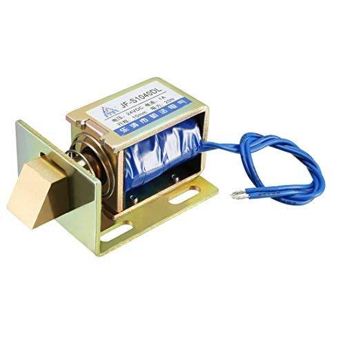 Solenoide de cerradura de puerta eléctrica, carrera DC 24 V, 25 N, fuerza 10 mm, tipo de tracción, marco abierto, electroimán de solenoide con tarjeta de montaje, movimiento lineal, JF-S1040DL