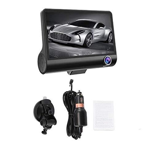 QiKun-Home Coche DVR 3/2 Cámaras Lente 4.0 Pulgadas Cámara de Tablero Lente Dual con cámara de visión Trasera Grabadora de Video Grabadora automática DVRS Dash CAM Negro 2 Lentes