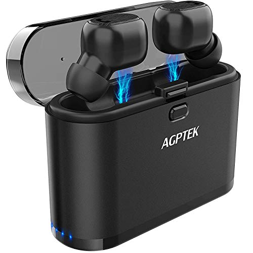 AGPTEK Mini Auriculares Bluetooth In-Ear, Auricualres Inalámbricos Impermeable IPX5Sonido Estéreo con Micrófono Integrado Y Caja de Carga Portátil para iPhone y Android