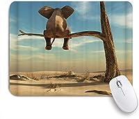 NIESIKKLAマウスパッド シュールな風景の中の枯れた木の細い枝の上に立つ象 ゲーミング オフィス最適 高級感 おしゃれ 防水 耐久性が良い 滑り止めゴム底 ゲーミングなど適用 用ノートブックコンピュータマウスマット