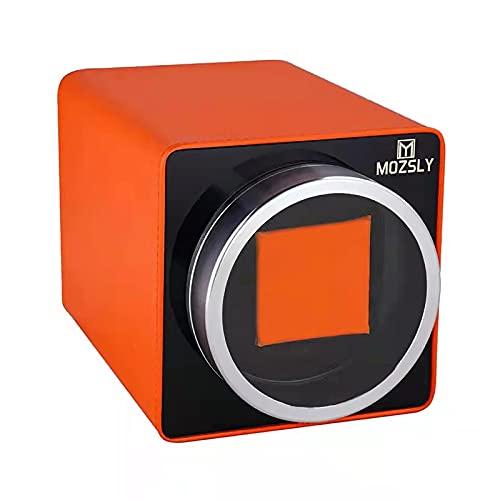 MOZSLY Uhrenbeweger für Automatikuhren mit 12 Rotationsmodus Einstellung für Rolex Fit Mann Frauen Automatikuhr Orange Leder
