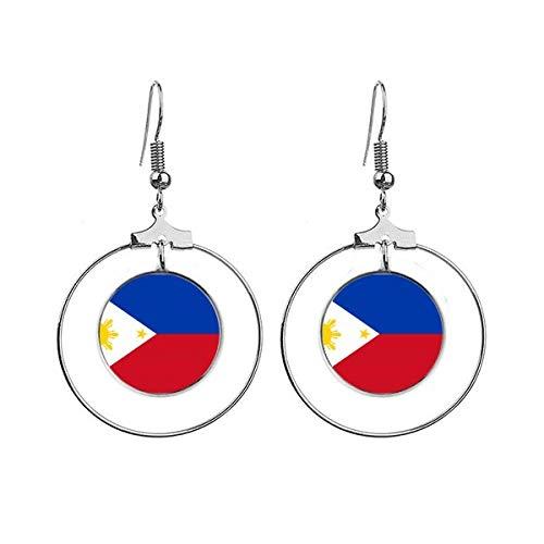 Filipijnen Nationale Vlag Azië Land Oorbellen Dangle Hoop Sieraden Drop Cirkel