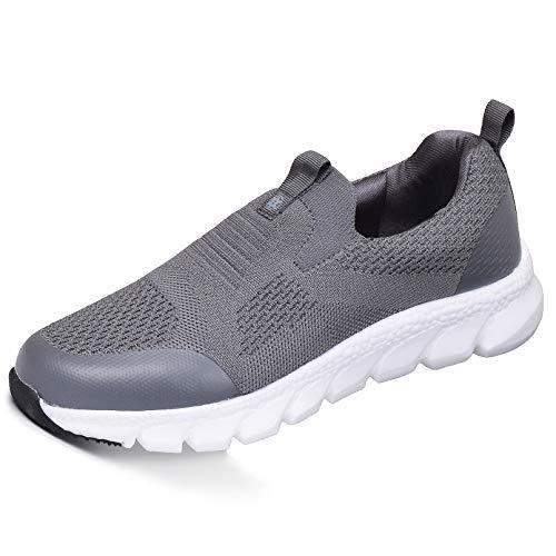 Damen Sneaker mit Keilabsatz Bequeme Plateau Freizeitschuhe Frauen Fitness Sportschuhe Mode Laufschuhe Leicht Turnschuhe Dunkelgrau D 37.5EU=Etikettengröße:38
