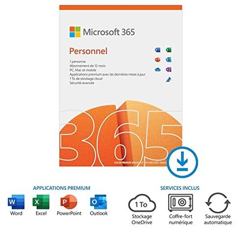 Microsoft 365 PERSONNEL   1 personne   1 an   PC/MAC/Chromebook   Téléchargement