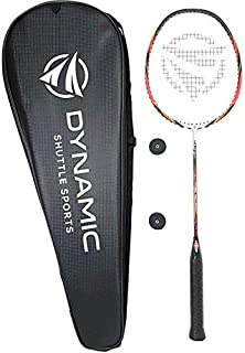 Dynamic Shuttle Sports Ares Red 68 Premium Carbon Fiber Indoor/Outdoor Professional Badminton Racket with Cover - for Both...