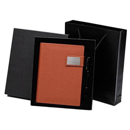 hsj WDX- Business - Cuaderno de hojas sueltas (A5, de piel gruesa, extraíble, diseño retro, con caja de regalo, color marrón