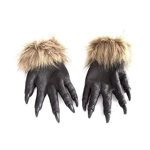 Demarkt Guantes con Forma de Garra de Lobo para la Navidad Halloween Cosplay Grimace Festival Party Show Costume Maquillaje Props 34CM*14CM 1PCS Negro
