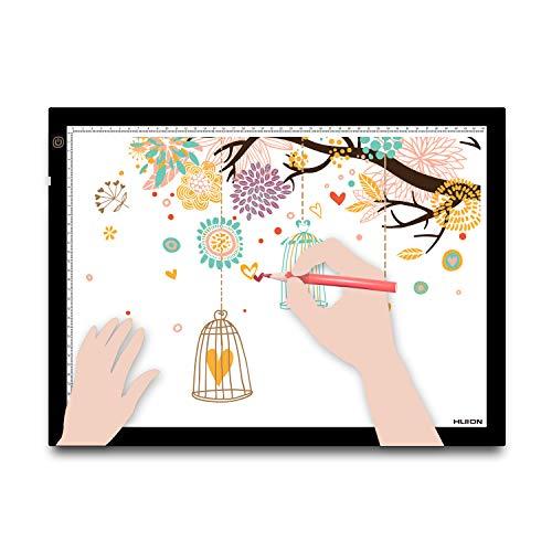 HUION A3 Planche à Dessin Lumineuse avec Tampon de lumière de traçage Boîte à lumière pour l'animation d'Artiste,Le Design d'Art avec Clip en métal