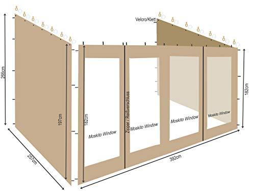 QUICK STAR 3 Seitenteile zu Rollpavillon 3x4m Sand