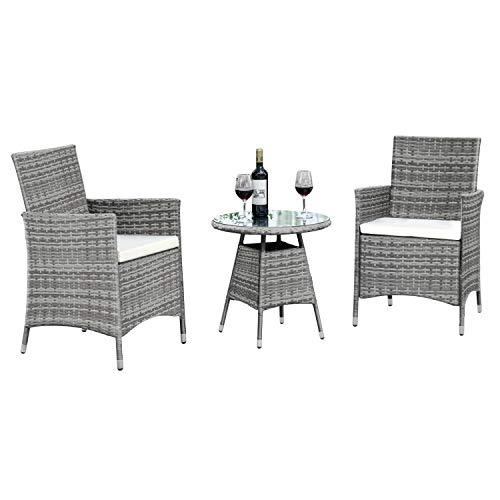 Ribelli 3-teiliges Gartenmöbel Set, Lounge Set, cremefarbenen Kissen - aus PE-Rattan - Tisch Plus Zwei Stühle - praktisch zu verstauen, Farbe:grau/Cream