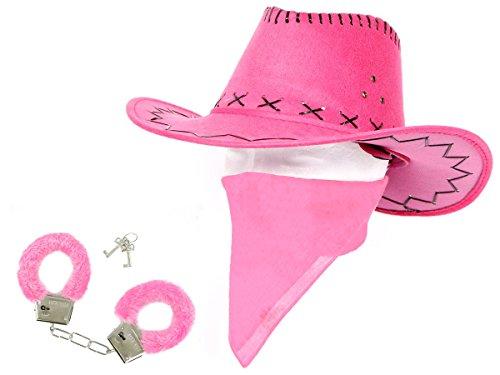 Alsino Cowgirl Outfit Cowboyhut Bandana Püsch Handschellen (Kv-29) Pink Lila Verkleidung Accessoires für Karneval, Fasching & Weiber Fastnacht