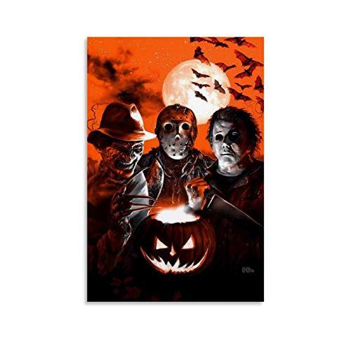 xiaoxiami Póster de Halloween de Jason Michael Myers Freddy Krueger en lienzo y pared de 30 x 45 cm