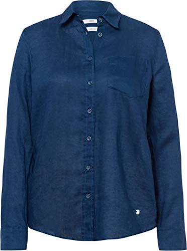 BRAX Damen Style Victoria Linen Bluse, Blau (Indigo 23), (Herstellergröße: 40)