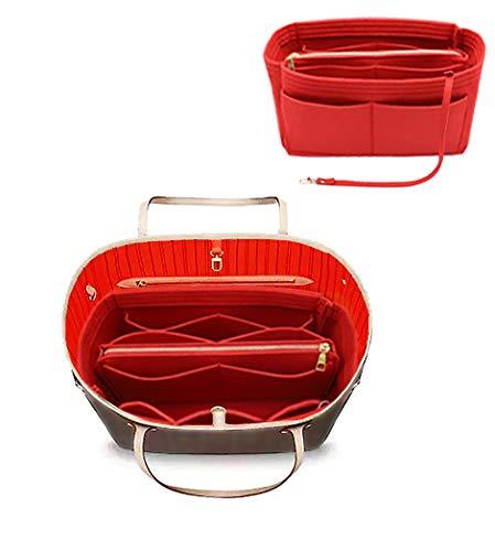 Felt Purse Bag Organizer Insert with zipper Bag Tote Shaper Fit Speedy 35 Neverfull MM 8021 Red L