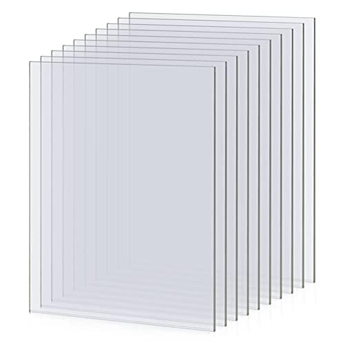 QLOUNI 10 Stück 25.4 x 20.3cm Acrylplatten, transparentes Acrylglas Platte, klares Acrylglas Plexiglas für das Ersatzglas von Fotorahmen, Schutzschilder, Projektausstellung, Malerei