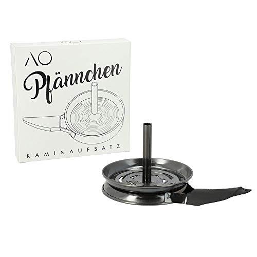 AO® Shisha Pfännchen Kaminaufsatz Edelstahl | Extra große Auflagefläche = für mindestens Vier Kohlen (Gun Metal)
