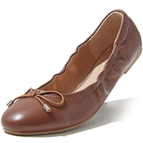 DailyShoes Flat Ladies Daily Shoes Flat Ballet Style Shoes Women's Classic Round Flats Memory Foam Strap Pointy Toe Ballet Flat Bottom Slip Classics Casual Beach Cool Shoes On Tan,PU,5